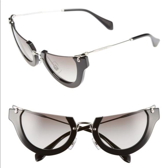 02fb4e1ed991 Miu Miu Accessories -  Noir  MIU MIU Semi-Rimless Cat-Eye Sunglasses